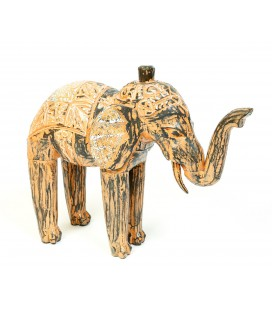 Orange wooden elephant