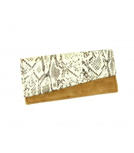 Large snake print leather wallet