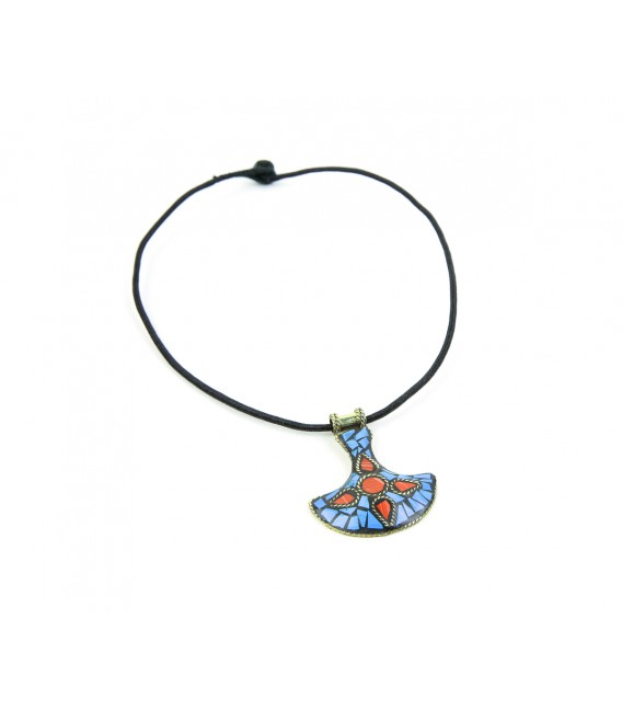 Blue and red flower necklace