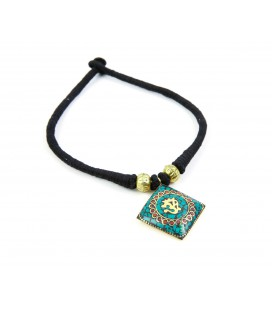 Om Green rhombus necklace