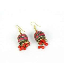 Red sphere cascade earrings