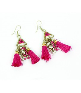 Pink pompon earrings