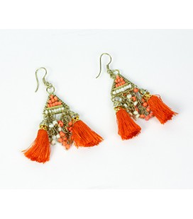 Orange pompon earrings