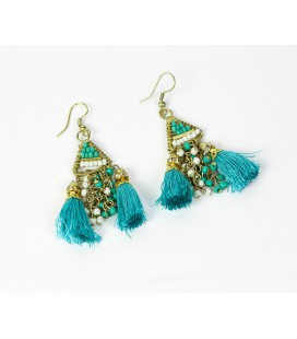 Turquoise pompon earrings