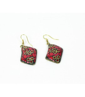 Red rectangular earrings