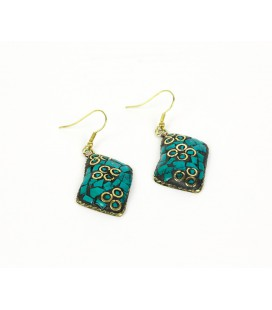 Green rectangular earrings