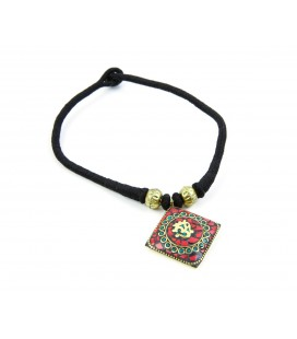 Om Red rhombus necklace