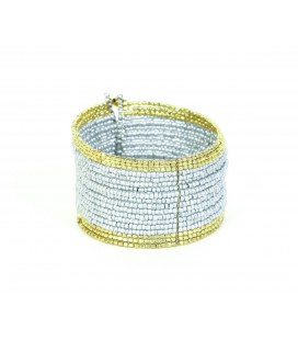 Gray golden spheres rigid bracelet