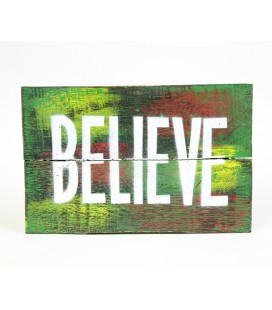 Green Believe board poster