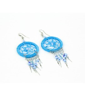 Sky blue dreamcatcher short earrings without feathers
