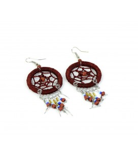 Brown dreamcatcher short earrings without feathers