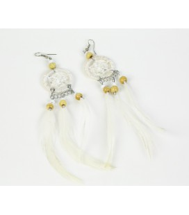 White dreamcatcher long earrings with feathers