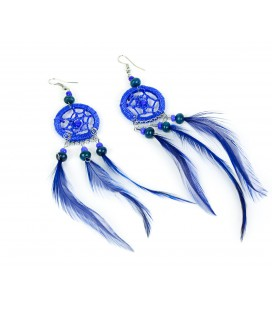 Dark blue dreamcatcher long earrings with feathers