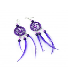Lilac dreamcatcher long earrings with feathers