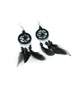 Black dreamcatcher earrings with short feathers