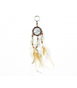 Brown dreamcatcher keychain with seeds