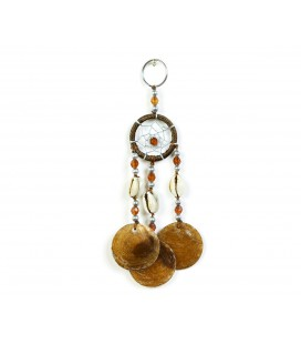 Brown dreamcatcher keychain with nacre circles
