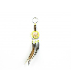 Yellow dreamcatcher keychain with wood