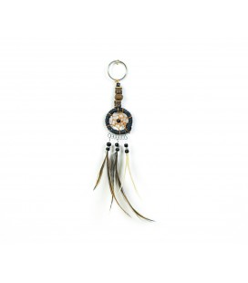 Black dreamcatcher keychain with wood