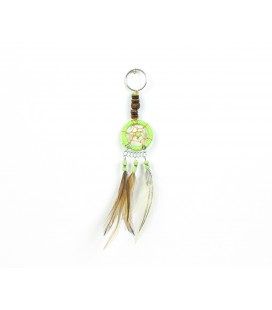 Green dreamcatcher keychain with wood