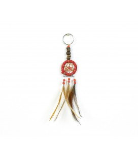 Red dreamcatcher keychain with wood