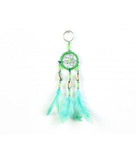 Green dreamcatcher keychain with seeds