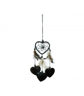 Black heart shaped dreamcatcher with nacre
