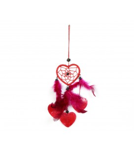 Red heart shaped dreamcatcher with nacre