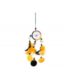 Orange and black dreamcatcher with mirror and circles