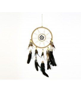 Cream nobuck leather dreamcatcher with shell