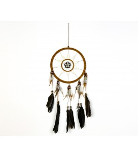Brown nobuck leather dreamcatcher with shell