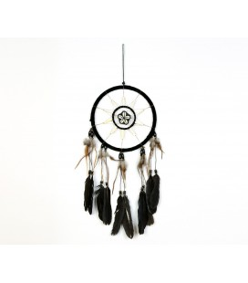 Black nobuck leather dreamcatcher with shell