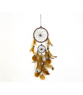 Brown dreamcatcher with two spheres and circles