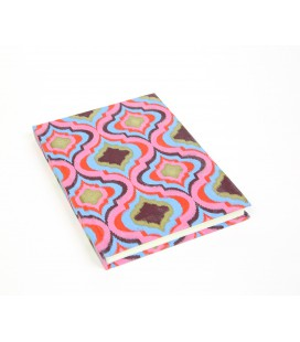 Large pink and blue hard cover notebook